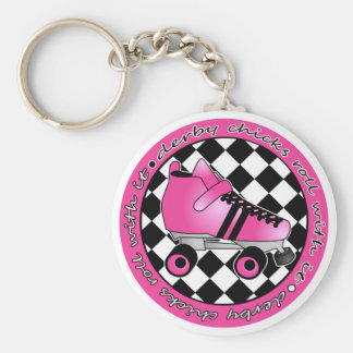 Derby Chicks Roll With It - Hot Pink Black White Basic Round Button Key Ring