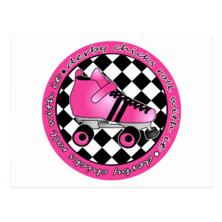 Derby Chicks Roll With It - Hot Pink Black White Postcard