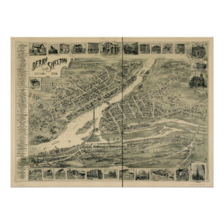 Derby Connecticut 1898 Antique Panoramic Map Posters