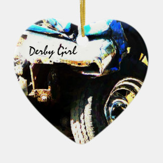 Derby Girl - Car Crash Ceramic Heart Decoration