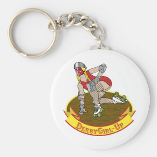 derby girl up basic round button key ring