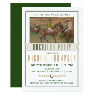 Derby Horse Race Bachelor Party   Edgar Degas Card