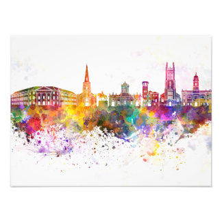 Derby skyline in watercolor background photo print