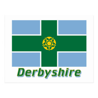 Derbyshire Flag with Name Postcard