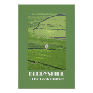 Derbyshire Peak District 1920s retro-style poster