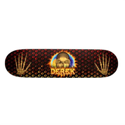 Derek skull real fire and flames skateboard design