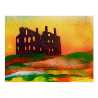 derelict mansion at sunset postcard