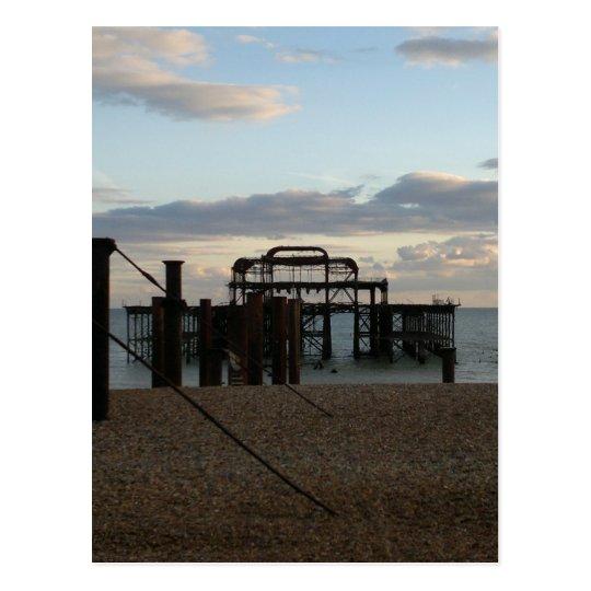 Derelict West Pier Brighton England Postcard
