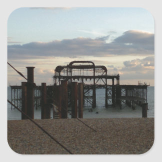 Derelict West Pier Brighton England Square Sticker
