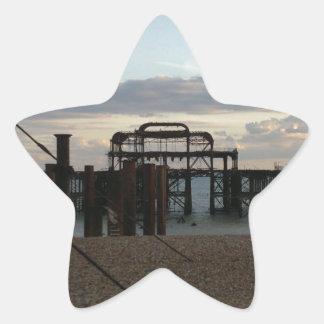 Derelict West Pier Brighton England Star Sticker