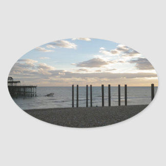 Derelict West Pier Brighton Oval Sticker