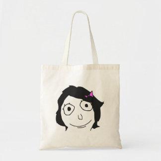 Derpina Black Hair Brunette Rage Face Meme Budget Tote Bag