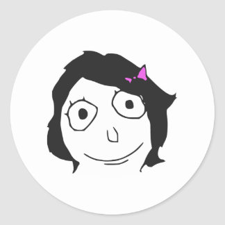 Derpina Black Hair Brunette Rage Face Meme Round Sticker