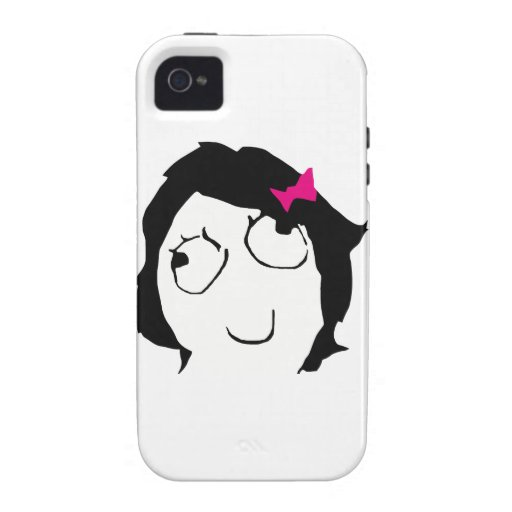 Derpina - black hair, pink ribbon Case-Mate iPhone 4 cases