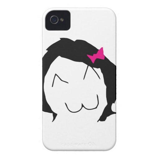 Derpina - black hair, pink ribbon - meme iPhone 4 case