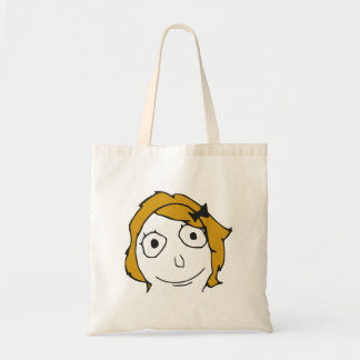 Derpina Blonde Yellow Hair Rage Face Meme Budget Tote Bag