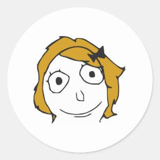 Derpina Blonde Yellow Hair Rage Face Meme Round Sticker