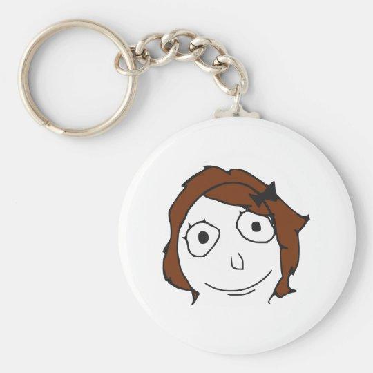 Derpina Brown Hair Rage Face Meme Basic Round Button Key Ring