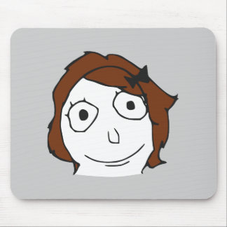 Derpina Brown Hair Rage Face Meme Mouse Pads