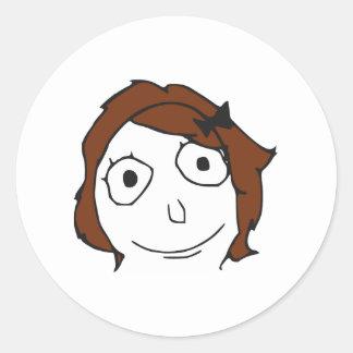 Derpina Brown Hair Rage Face Meme Round Sticker