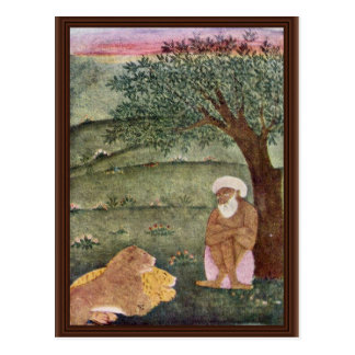 Dervish With A Lion And A Tiger Mughal Painting Postcard