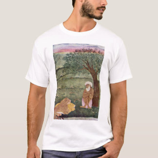 Dervish With A Lion And A Tiger. Mughal Painting. T-Shirt