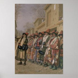 Dervishes' Chorus Begging Alms in Tashkent, 1870 Poster