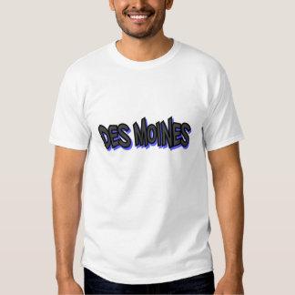 Des Moines Graffiti Basic T-Shirt, White, Large Tee Shirt