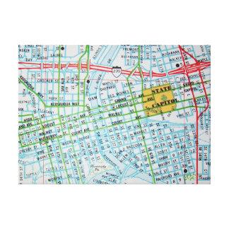 Des Moines, IA Vintage Map Print Stretched Canvas Print