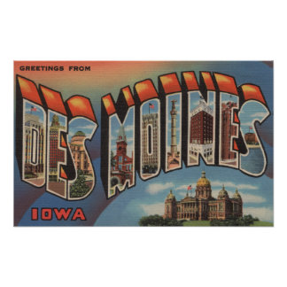 Des Moines, Iowa (Capital Building) Poster