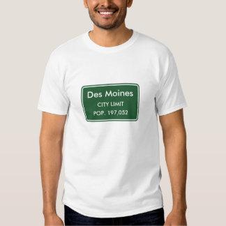 Des Moines Iowa City Limit Sign T Shirts