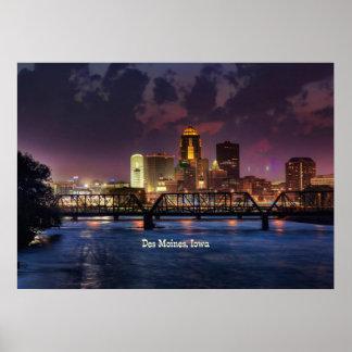 Des Moines, Iowa cityscape Poster