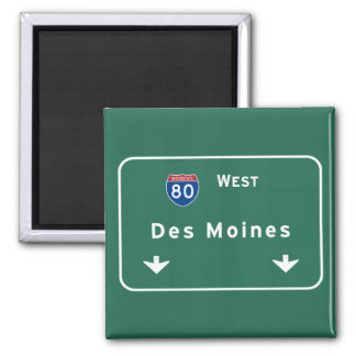 Des Moines Iowa ia Interstate Highway Freeway : Square Magnet