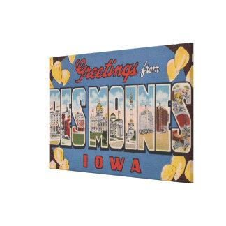 Des Moines, Iowa - Large Letter Scenes 2 Canvas Print