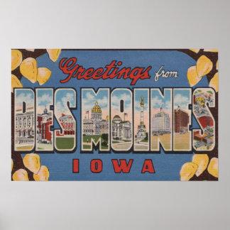 Des Moines, Iowa - Large Letter Scenes 2 Poster