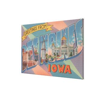 Des Moines, Iowa - Large Letter Scenes 3 Stretched Canvas Prints