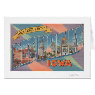 Des Moines, Iowa - Large Letter Scenes 3 Greeting Card
