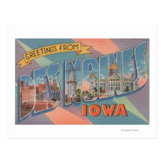 Des Moines, Iowa - Large Letter Scenes 3 Post Card