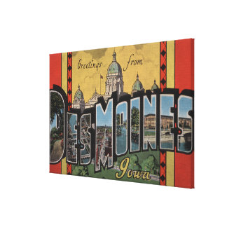 Des Moines, Iowa - Large Letter Scenes Gallery Wrapped Canvas