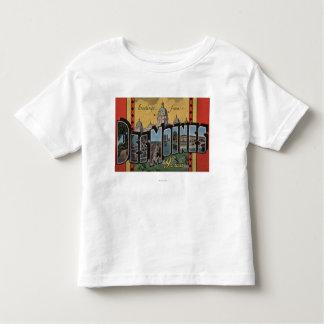 Des Moines, Iowa - Large Letter Scenes Toddler T-Shirt