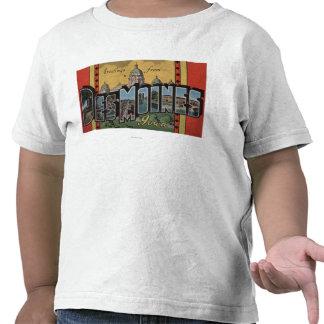 Des Moines, Iowa - Large Letter Scenes T-shirt