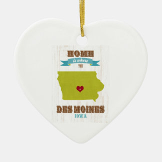 Des Moines, Iowa Map – Home Is Where The Heart Is Christmas Ornament