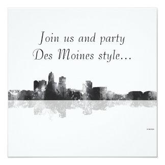 DES MOINES, IOWA SKYLINE 13 CM X 13 CM SQUARE INVITATION CARD