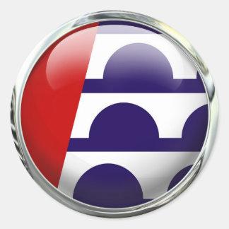 Des Moines Iowa State Flag Round Glass Ball Round Sticker