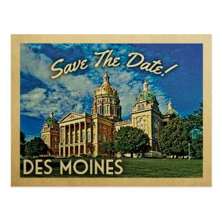 Des Moines Save The Date Iowa Postcard