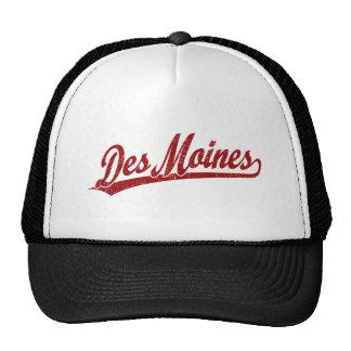 Des Moines script logo in red Hat
