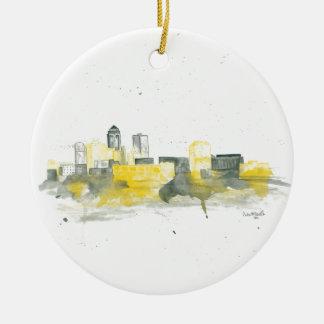 Des Moines Skyline Christmas Ornament