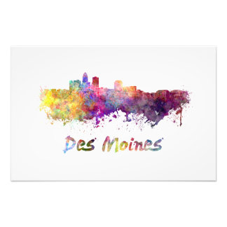 DES Moines skyline in watercolor Photo Print