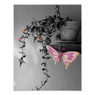 Desaturated Potted Plant and Butterfly Poster