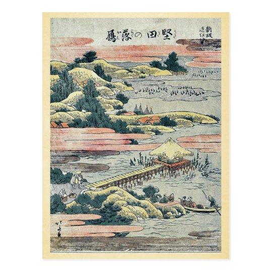 Descending geese at Katada by Katsushika, Hokusai Postcard